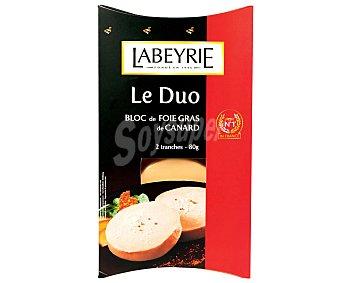 Labeyrie Bloc de foie gras de pato 2 unidades de 80 gramos