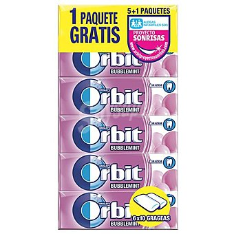 Orbit Chicle grageas sabor bubblemint Pack 5 x 10 unidades (50 grageas)