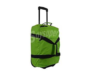 AIRPORT Bolsa de viaje multibolsillos con ruedas, de color verde con las cremalleras en negro y asa telescópica, medida 50 centímetros 50cm
