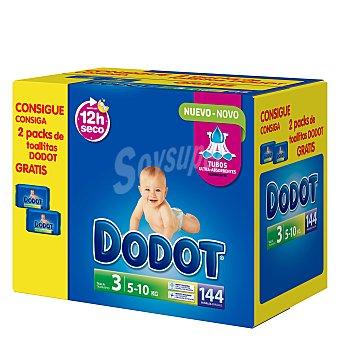 Dodot Caja Pañal T3 (5-10 kg.) + regalo 2 packs de toallitas 144 ud