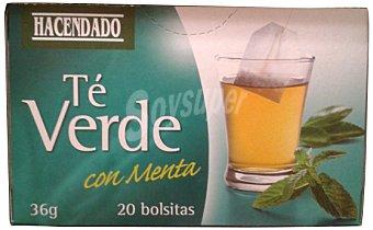 Hacendado Infusion té verde con menta (refrescante) 20 bolsitas (Paquete 36 gramos)