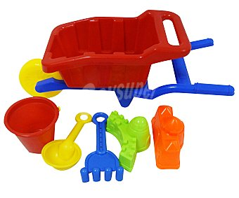 EURASPA Conjunto de juguetes de playa (cubo, pala, rastrillo...) y una carretilla para transportalos y guardarlos 1 unidad
