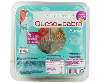Auchan Ensalada de queso de cabra con salsa vinagreta, tomate, aceitunas negras y cebolla frita 155 gramos