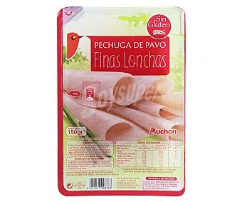 Auchan Pechuga de pavo cocida, sin gluten y cortada en finas lonchas 150 g