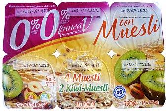 Hacendado Yogur desnatado CON muesli (4 muesli, 2 muesli - kiwi) Pack 6 x 125 g - 1,5 kg