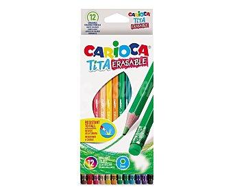 Carioca Pack de 12 lápices de colores con goma incluida para uso escolar, carioca. Pack de 12