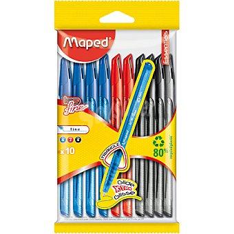 MAPED MAPED Bolígrafos en colores surtidos de escritura fina Pack 10 unidades