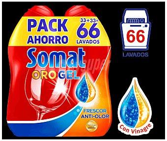 Somat Detergente lavavajillas Oro gel frescor anti-olor con vinagre Pack 2 botellas de 33 dosis