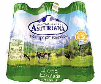 Central Lechera Asturiana Leche desnatada UHT Pack 6 botellas x 1.5 l
