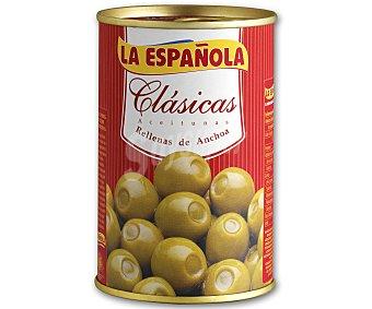 La Española Aceitunas verdes manzanilla rellenas de anchoa 130 gramos (peso neto escurrido)