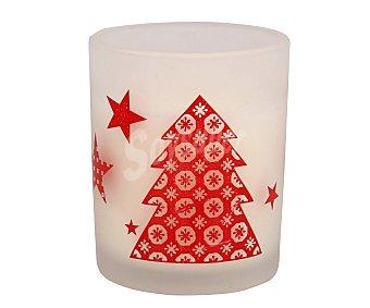 Actuel Vela en vaso transparente y con diseños de motivos navideños en color rojo, perfumada y con medidas de 62x75 milímetros ACTUEL