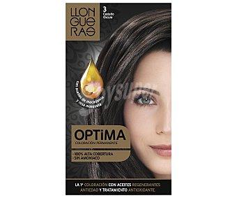 Llongueras Tinte de color castaño oscuro nº3 con aceites de macadamia y rosa mosqueta 1 unidad