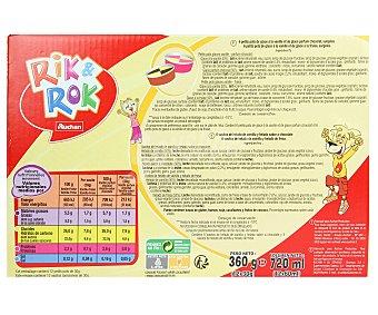 Rik&Rok Auchan Helado de vainilla y fresa o vainilla y chocolate 12 unidades de 60 mililitros