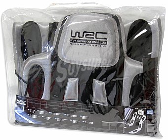 WRC Respaldo universal acolchado tipo baquet, con cabezal, apoyo dorsal y de color gris con toques en negro, modelo Sport 1 unidad