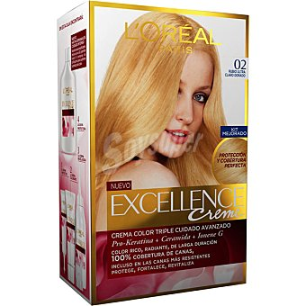 Excellence L'Oréal Paris Tinte Rubio Ultra Claro Dorado nº 02 crema color triple cuidado caja 1 unidad con Pro-keratina + Ceramida + Ionene G Caja 1 unidad
