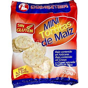 Comeztier Mini tortitas de maíz sin glutén Envase 30 g