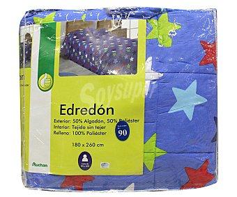 Productos Económicos Alcampo Edredón Infantil para cama individual de 90 centímetros, color azul, densidad de 180 gramos 1 Unidad