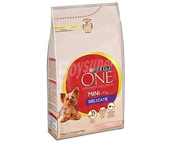 Purina One Comida Seca My Dog is Delicate para Perro Adulto de Raza Pequeña con Digestión Sensible. Croquetas de Salmón y Arroz Saco de 1,5 Kilogramos
