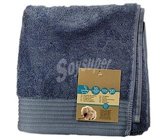 AUCHAN Toalla de lavabo lisa color azul de algodón egipcio, 630 gramos/m², 50x100 centímetros 1 Unidad