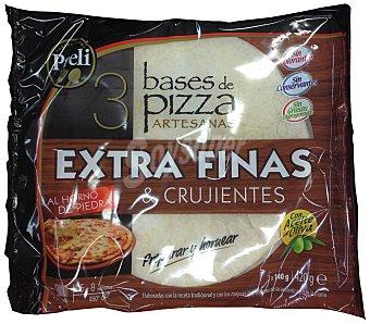 Preli Base pizza congelada extra fina Paquete 3 unidades 420 gr