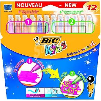 BIC Kids Colour & Create Estuche con 12 rotuladores Colour & Create XL