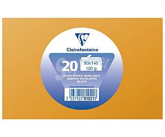 Clairefontaine Sobres de tamaño 90 x 140 milímetros, peso de 120 gramos y de color capuchino 20 unidades