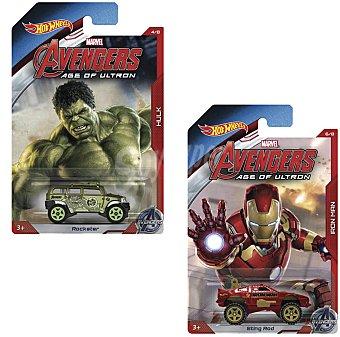 HOT WHEELS Mini vehículos de tus personajes preferidos de Los Vengadores 1 unidad