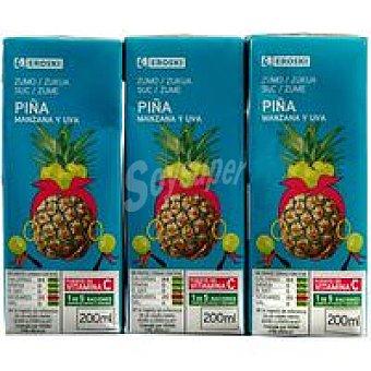 Eroski Zumo de piña Pack 3x200 ml