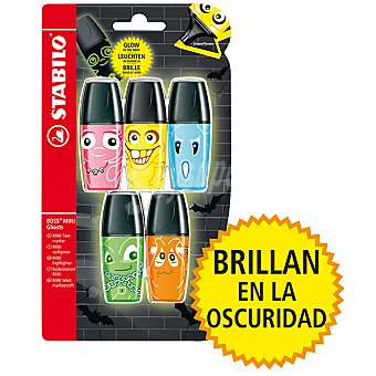 STABILO Boss Mini Ghosts Pack de 5 fluorescentes en colores variados que brillan en la oscuridad Pack de 5