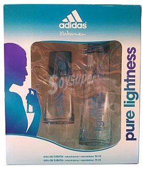 Adidas Lote mujer colonia 75 ml + gel ducha 150 ml pure lightness 1 unidad
