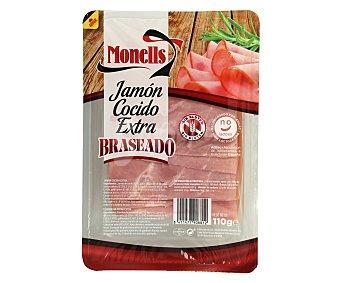 Monells Jamón cocido braseado de calidad extra, sin gluten y sin lactosa y cortado en finas lonchas 110 g