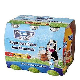Carrefour Kids Yogur líquido semidesnatado de fresa y plátano 6 unidades de 100 g