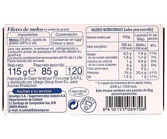 Auchan Filete de melva en aceite de girasol Lata de 85 gramos