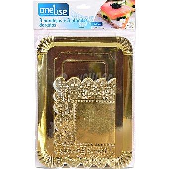 ONEUSE bandeja rectángular dorada con blonda 28x21 cm  envase 3 unidades