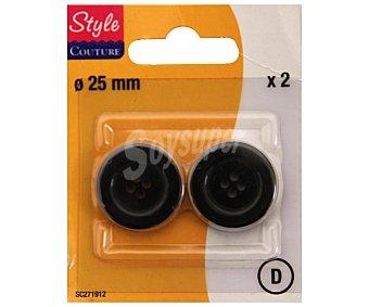 STYLE Pack de 2 botones de 25 milímetros para traje caballero, color negro 1 Unidad