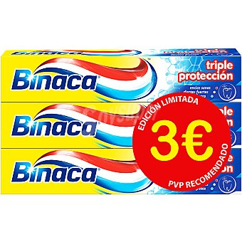 Binaca pasta dentífrica triple protección anticaries pack 3 tubo 75 ml