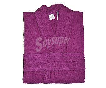 PRODUCTO ECONÓMICO ALCAMPO Albornoz de rizo algodón color morado liso unisex, talla mediana 1 Unidad
