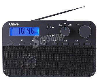 QILIVE Q.1524 Radio portátil digital de sobremesa, botones presintonías, Display en color azul, antena telescopica