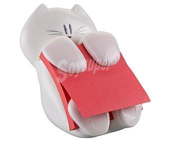 3M Dispensador con forma de simpático gato de color blanco de notas adhesivas, que incluye 90 notas de color salmón de 76x76 milímetros 1 unidad