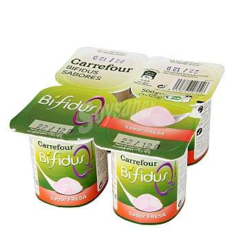 Carrefour Yogur desnatado Bífidus sabor fresa Pack de 4x125 g