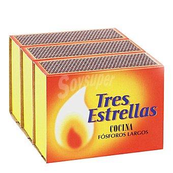 Tres Estrellas Fósforos largos especial cocina 3 cajas de 100 unidades