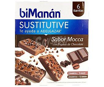 Bimanan Barritas con sabor a mocca con pepitas de chocolate que te ayuda a adelgazar 6 unidades