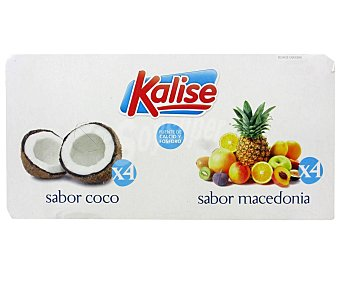 Kalise Yogur de sabores a coco (4) y macedonia (4) 8 x 125 g