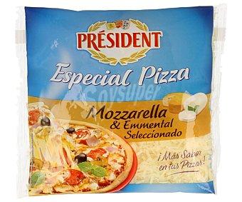 President Queso rallado mozzarella y emmental especial pizza 150 gramos