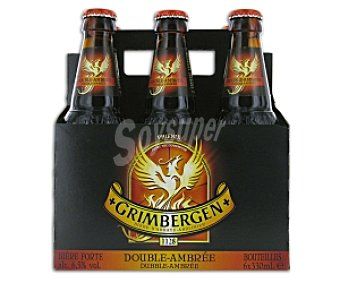 Grimbergen Cerveza abadia belga Pack de 6 botellas de 33 centilitros