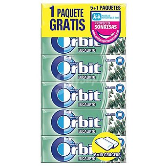 Orbit Chicle grageas sabor eucalipto Paquete 5 uds