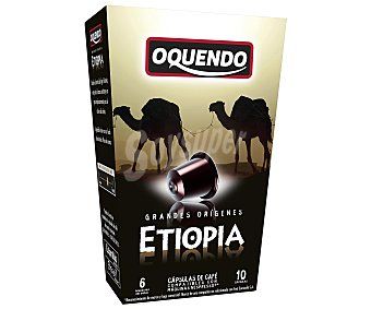 Oquendo Café molido de tueste natural de Etiopía en monodosis compatibles con Nespresso 10 unidades de 50 gr