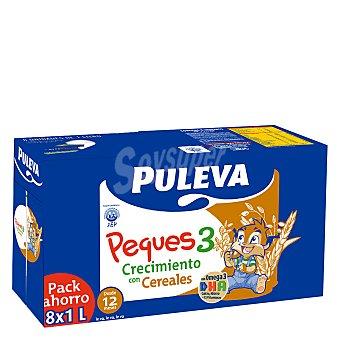 Puleva Leche 3 de crecimiento con cereales líquida Peques 3 Pack 8x1 l