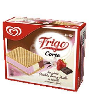 Frigo Helado sándwich de chocolate, fresa y vainilla con barquillo 4 ud
