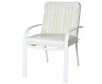 GARDEN STAR Sillón fijo, con estructura de de acero en color blanco, cojines de poliester de color blanco con rayas verdes 1 unidad
